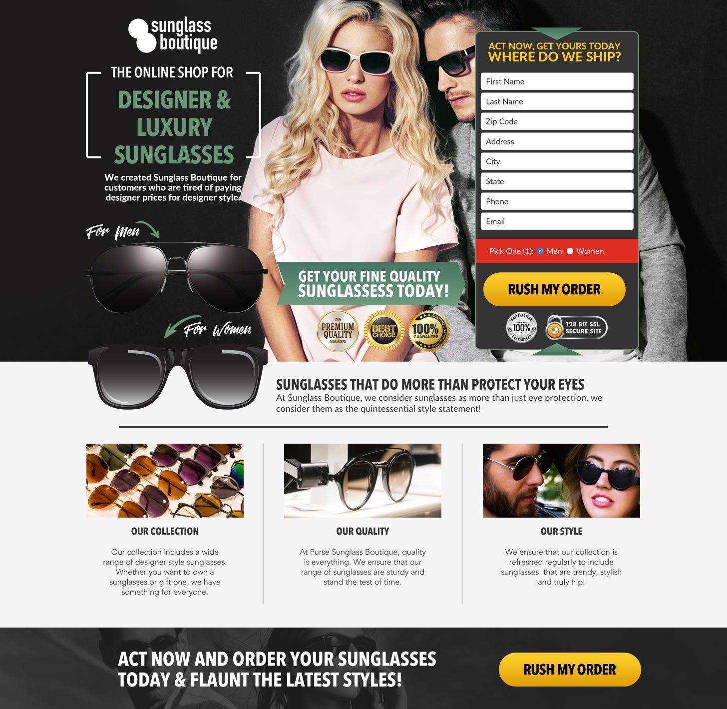 Eyeglass Landing Page